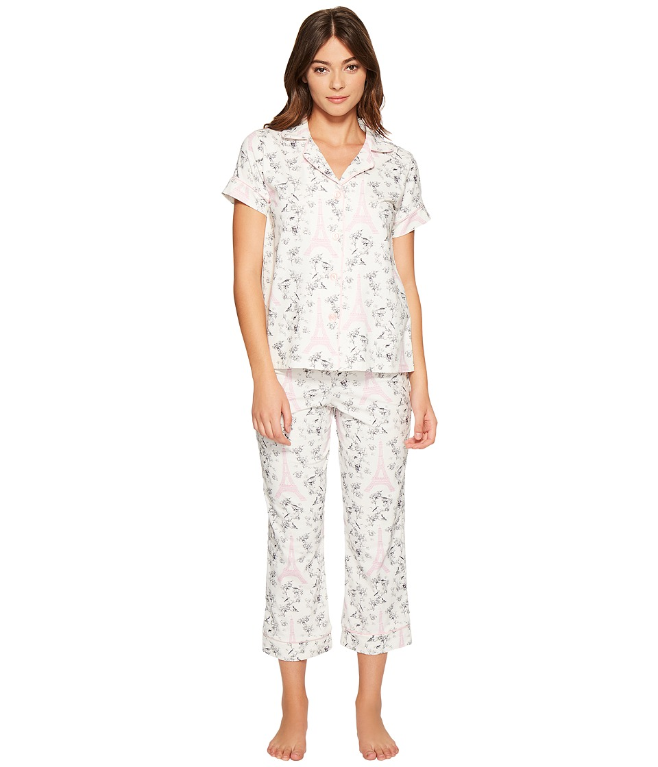 BedHead - Short Sleeve Cropped Pants Set (Pink Eiffel Toile) Women's Pajama Sets