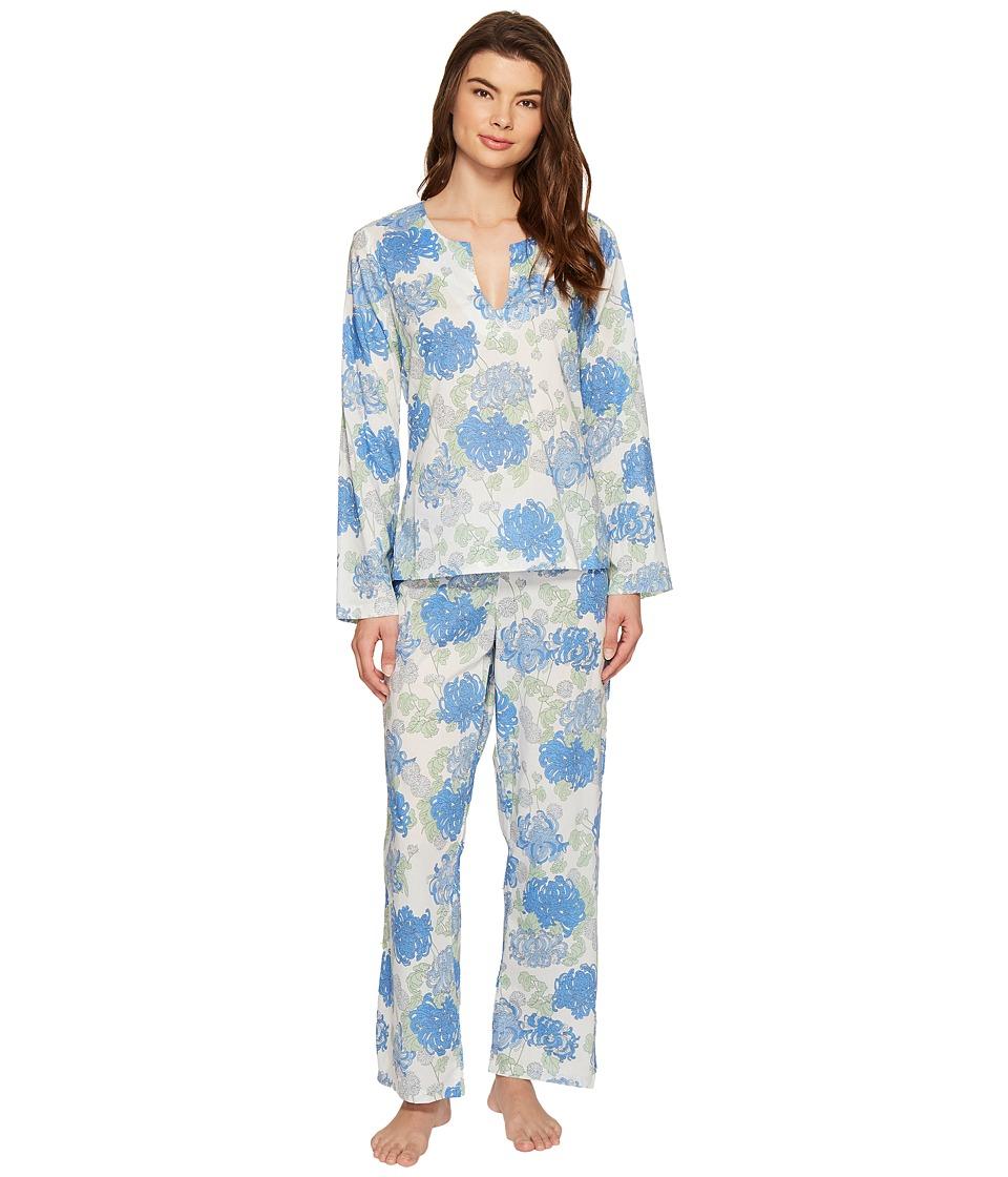 Image of BedHead - Bracelet Sleeve Tunic Pajama Set (Blue Mum's Favorite) Women's Pajama Sets