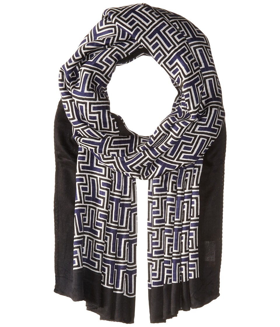 Tory Burch - Block T Logo Oblong (Navy) Scarves