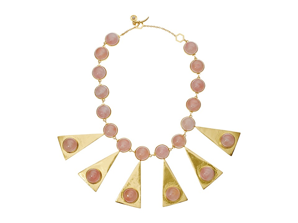 Tory Burch - Triangle Stone Statement Necklace (Pink Quartz/Vintage Gold) Necklace