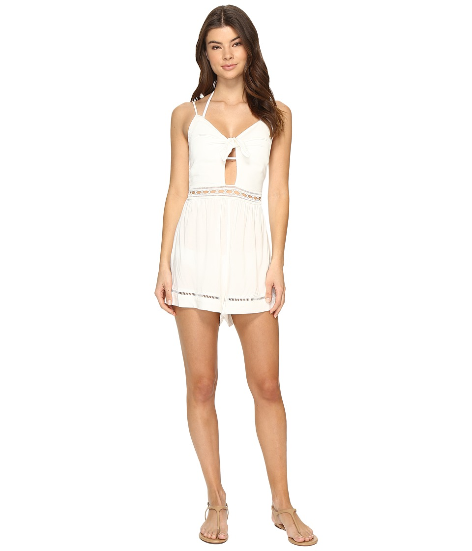 Seafolly - Botanica Tie Front Playsuit Cover-Up (Milk) Women's Jumpsuit & Rompers One Piece