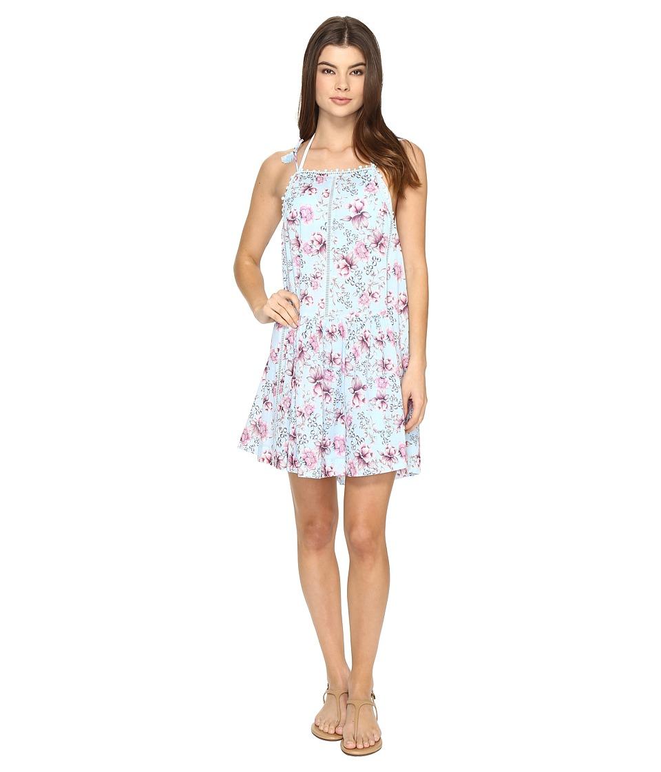 Seafolly - Nouveau Floral Lace Trim Dress Cover-Up (Cornflower) Women's Swimwear