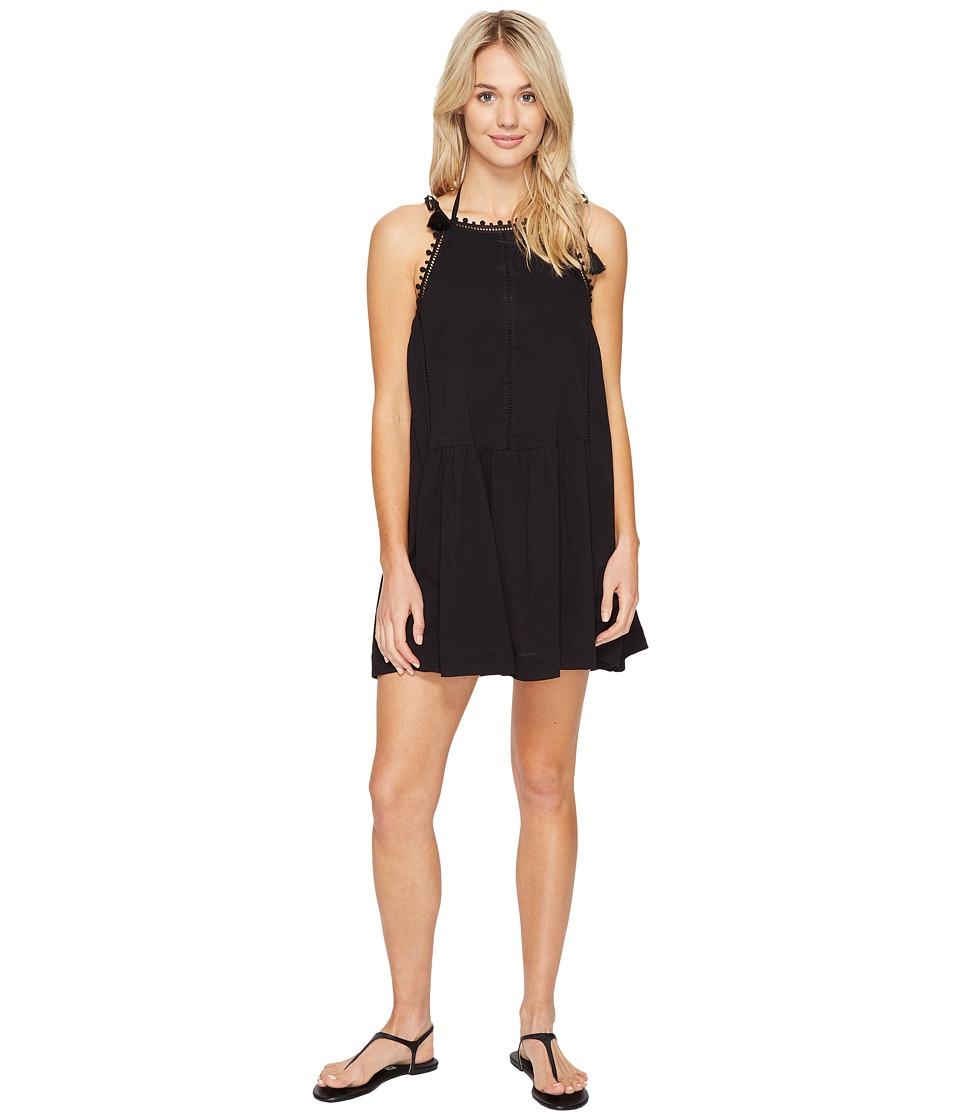 Seafolly - New Romantic Lace Trim Dress Cover-Up (Black) Women's Swimwear