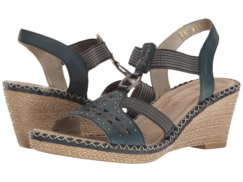 Rieker - D6751 Ursula 51 (Mare/Nachtblau/Pazifik) Women's Wedge Shoes