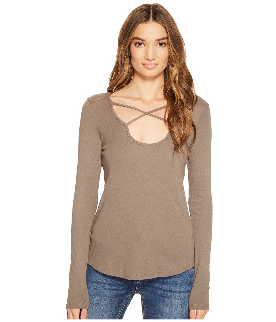 Splendid - 1x1 Cross Front Long Sleeve Top (Military Olive) Women's Long Sleeve Pullover