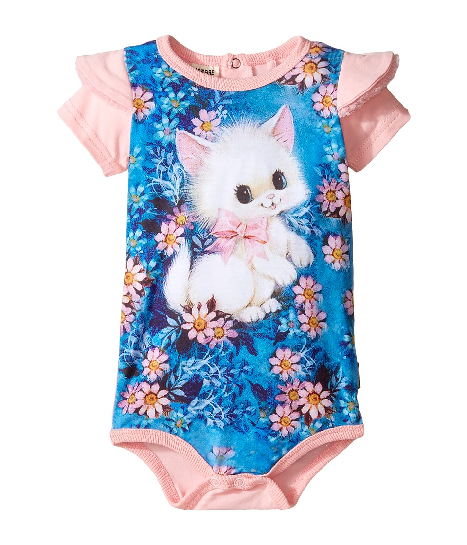 Rock Your Baby - Retro Kitten Short Sleeve Bodysuit (Infant) (Pink) Girl's Jumpsuit & Rompers One Piece