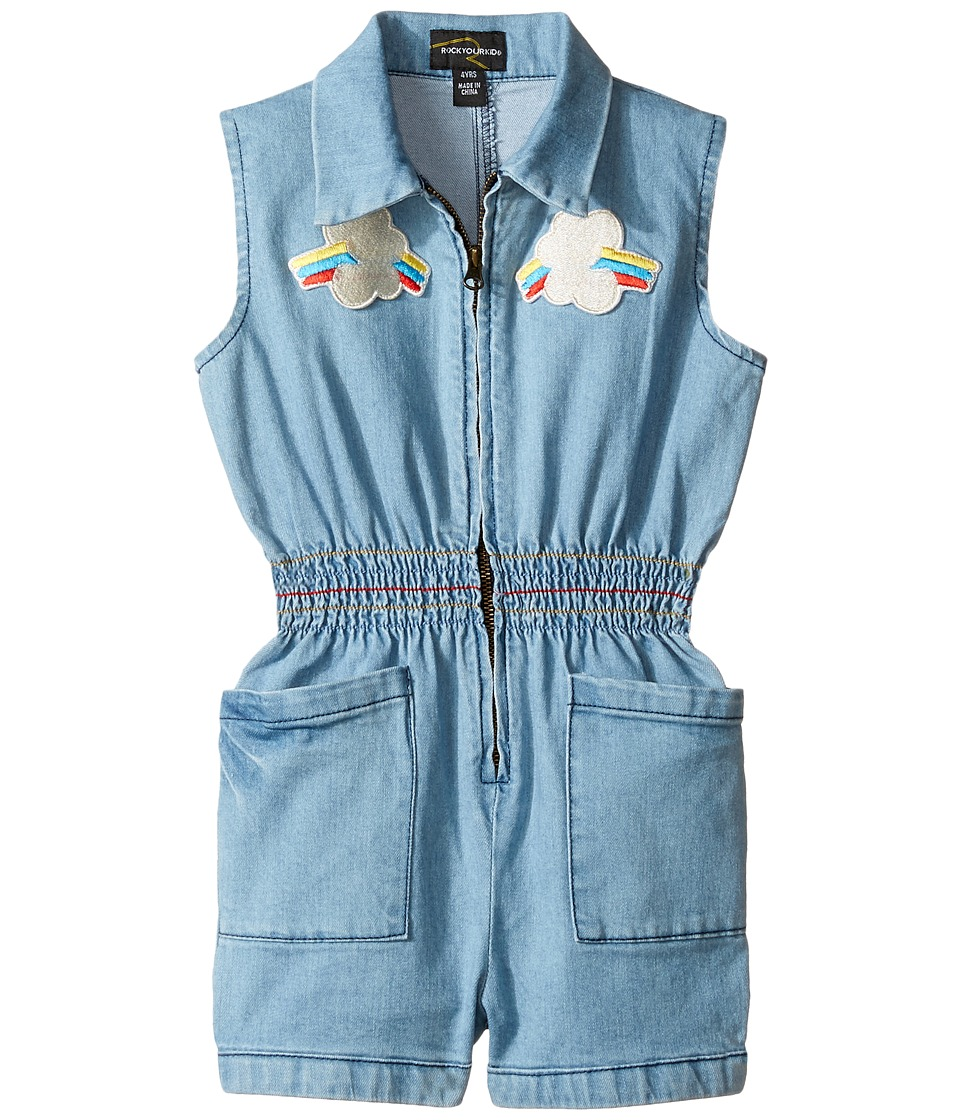 Rock Your Baby - Rainbow Romper (Toddler/Little Kids/Big Kids) (Chambray) Girl's Jumpsuit & Rompers One Piece