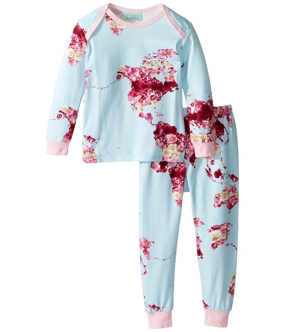 BedHead Kids - Long Sleeve Long Pants Set (Infant) (Floral Map of the World) Girl's Active Sets