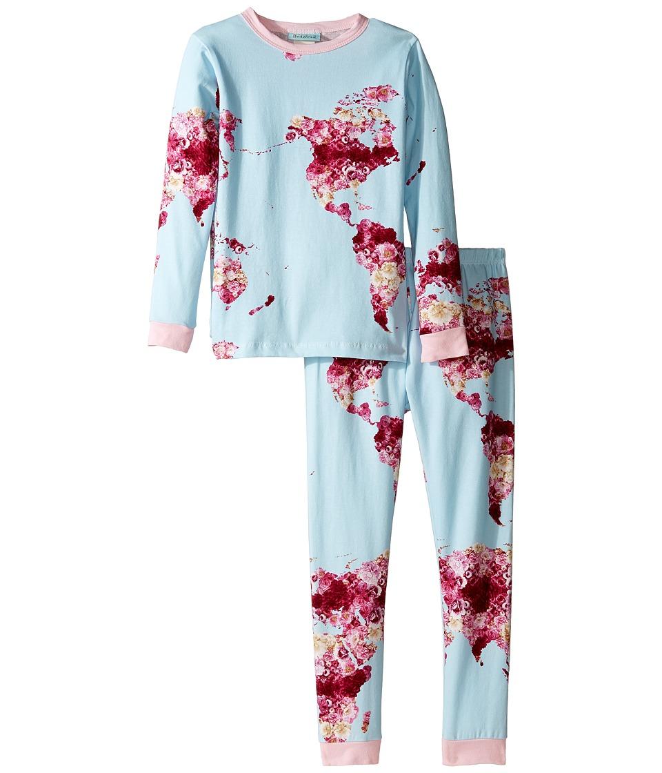 BedHead Kids - Long Sleeve Long Pants Set (Toddler/Little Kids) (Floral Map of the World) Girl's Pajama Sets