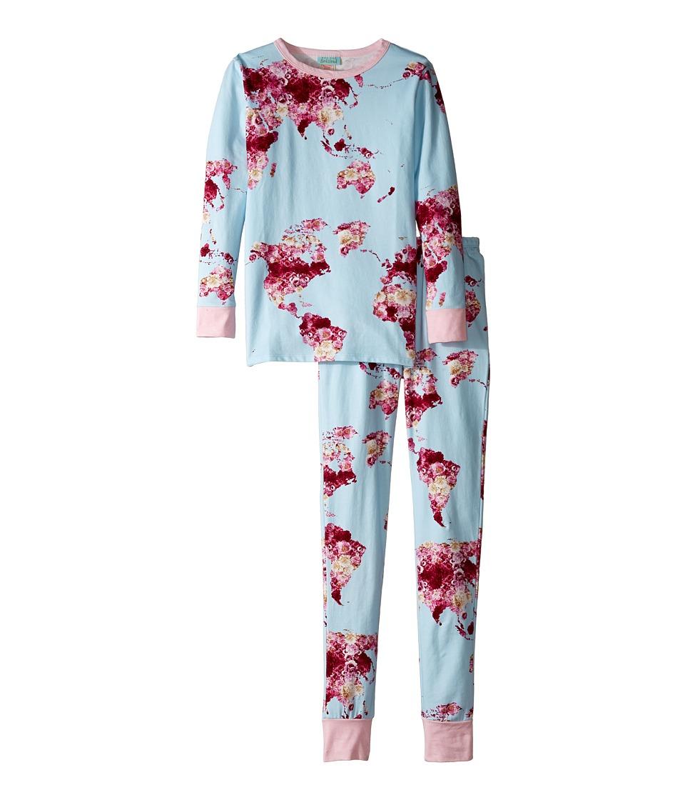 BedHead Kids - Long Sleeve Long Pants Set (Big Kids) (Floral Map of the World) Girl's Active Sets