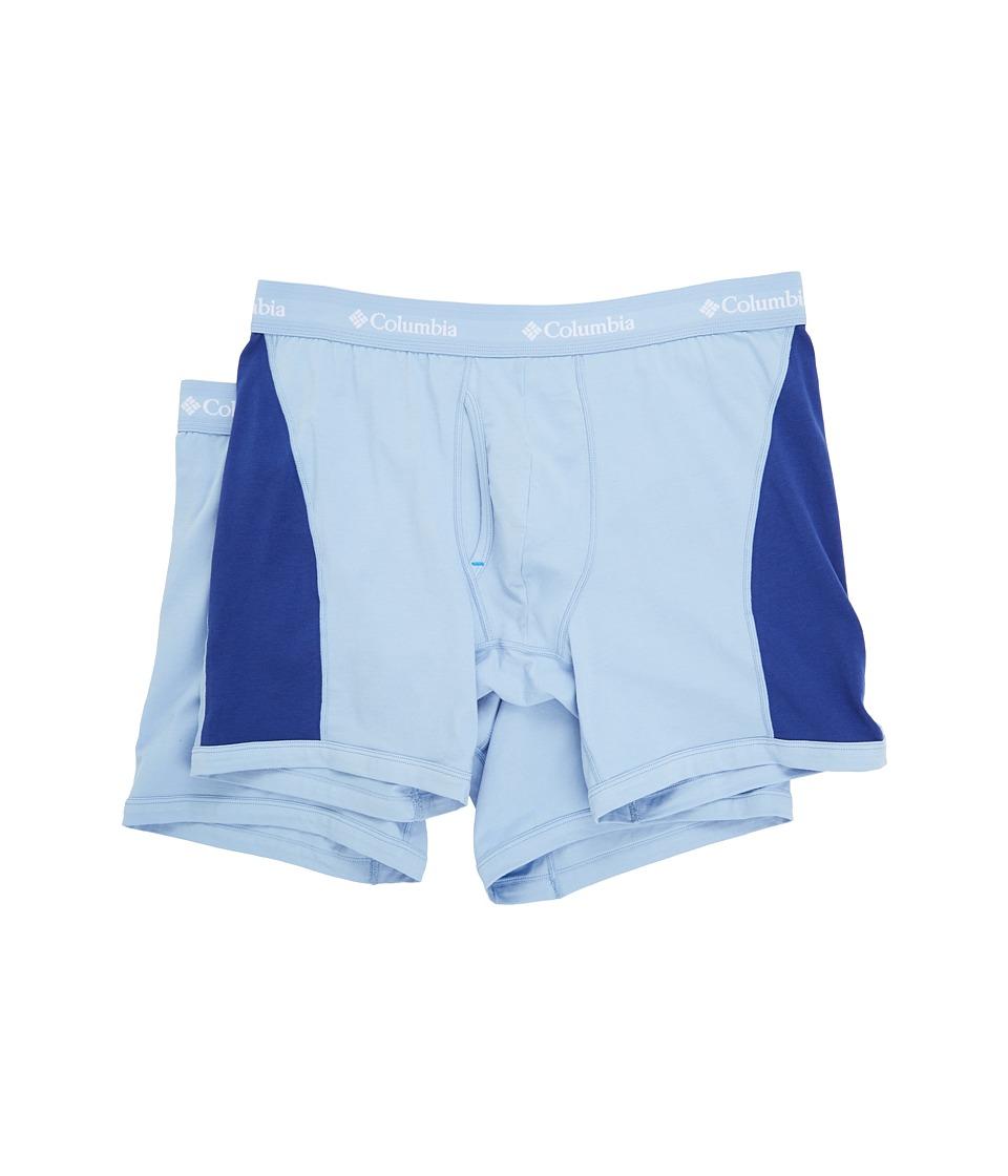 Columbia - Cotton Stretch Color Block 2-Pack (Grey Heather/Sodalite Blue) Men's Underwear