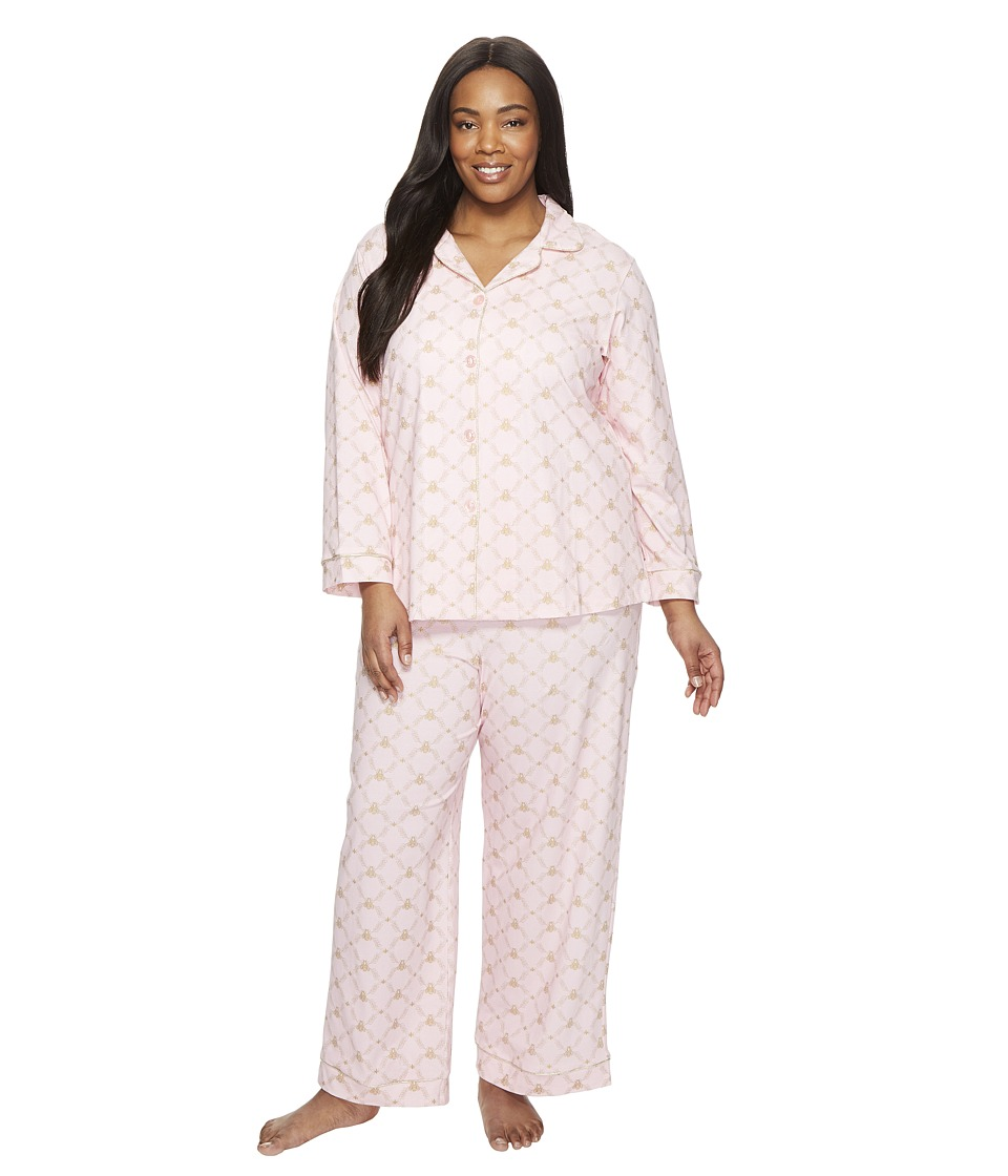 BedHead - Plus Size Long Sleeve Classic Pajama Set (Pink Queen Bee) Women's Pajama Sets
