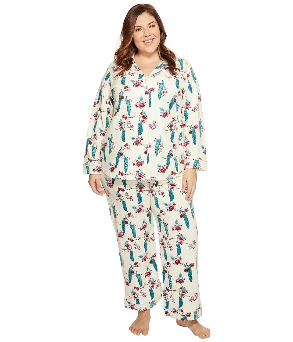 BedHead - Plus Size Long Sleeve Classic Pajama Set (Feathered Splendor) Women's Pajama Sets