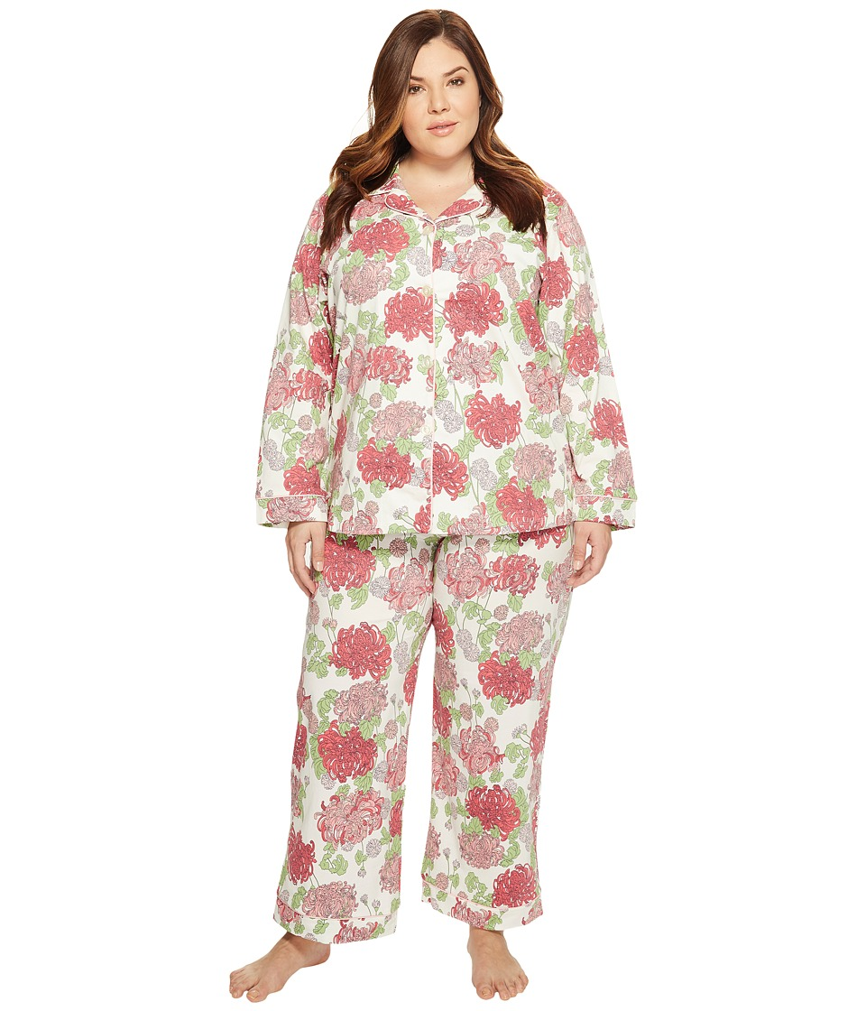 BedHead - Plus Size Long Sleeve Classic Pajama Set (Coral Mum's Favorite) Women's Pajama Sets