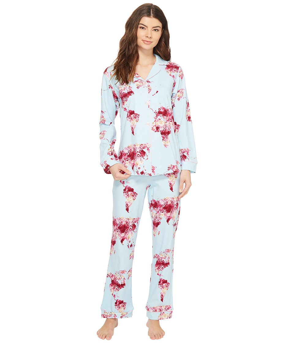 BedHead - Long Sleeve Classic Pajama Set (Floral Map of the World) Women's Pajama Sets