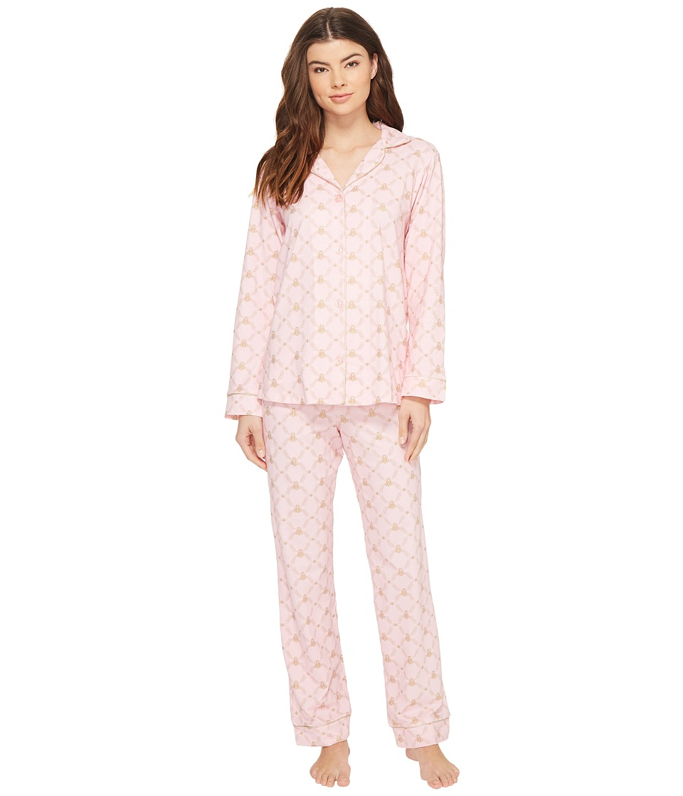 BedHead - Long Sleeve Classic Pajama Set (Pink Queen Bee) Women's Pajama Sets