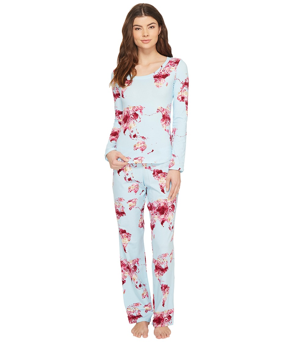 BedHead - Long Sleeve Round-Neck with Classic Pants Pajama Set (Floral Map of the World) Women's Pajama Sets