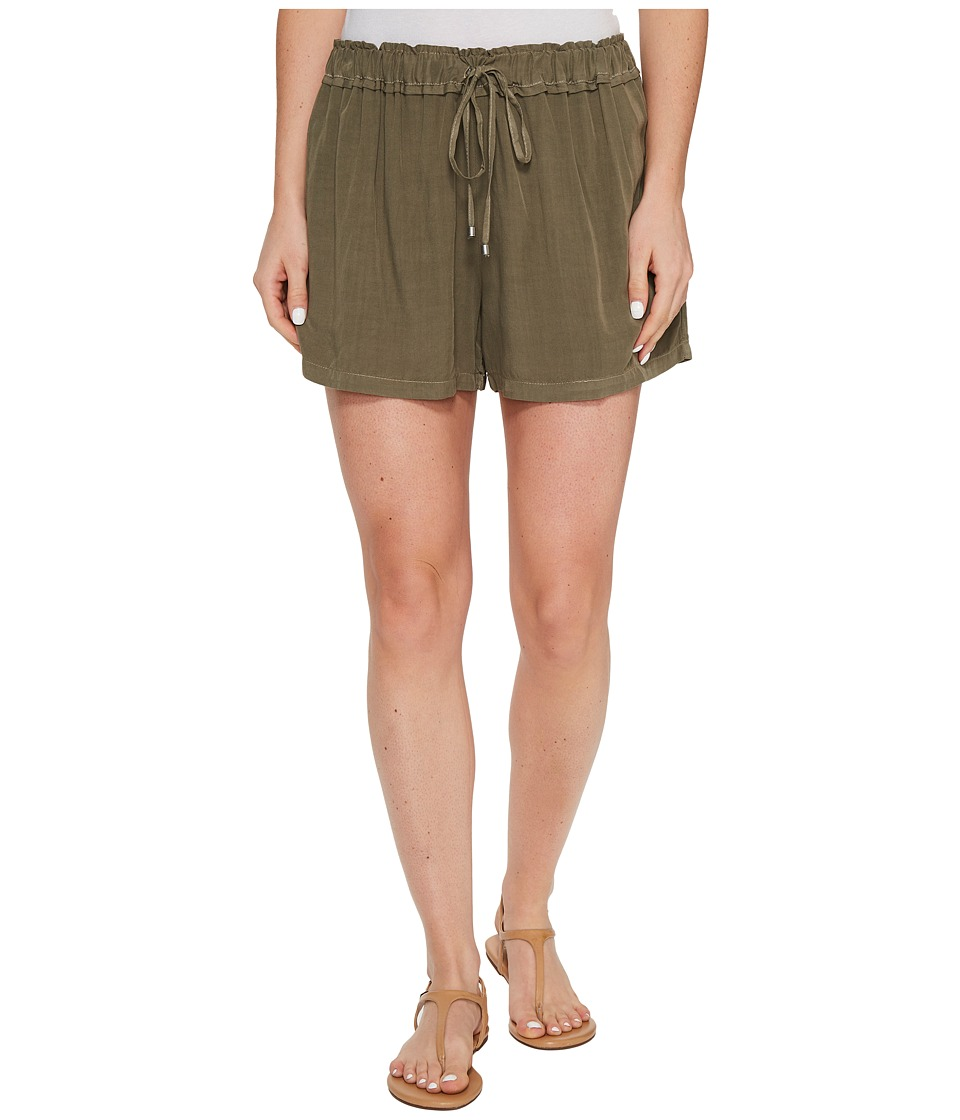 Splendid - Ruffle Waist Shorts (Military Olive) Women's Shorts