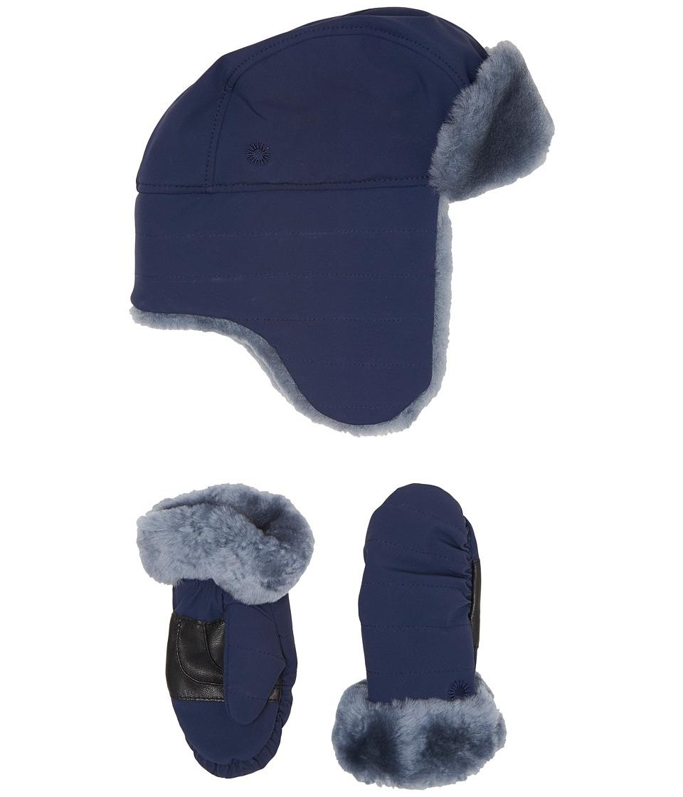UGG Kids Nylon Hat/Mitten Gift Set (Toddler/Little Kids) (Navy) Cold Weather Hats