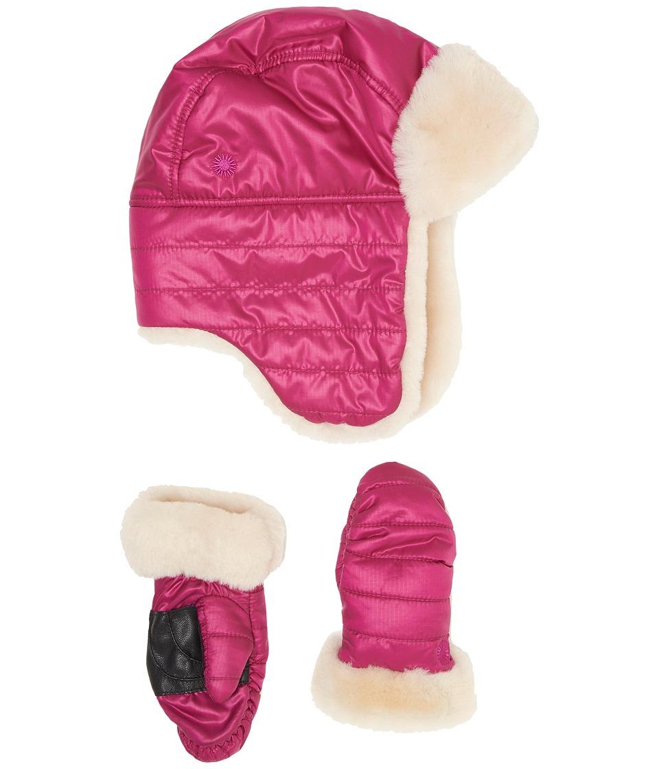 UGG Kids Nylon Hat/Mitten Gift Set (Toddler/Little Kids) (Pink Azalea) Cold Weather Hats