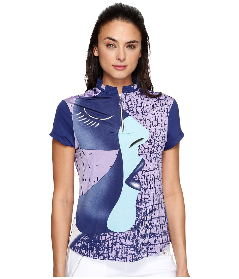 Jamie Sadock - Facetime Short Sleeve Top (Terra Blues) Women's Clothing