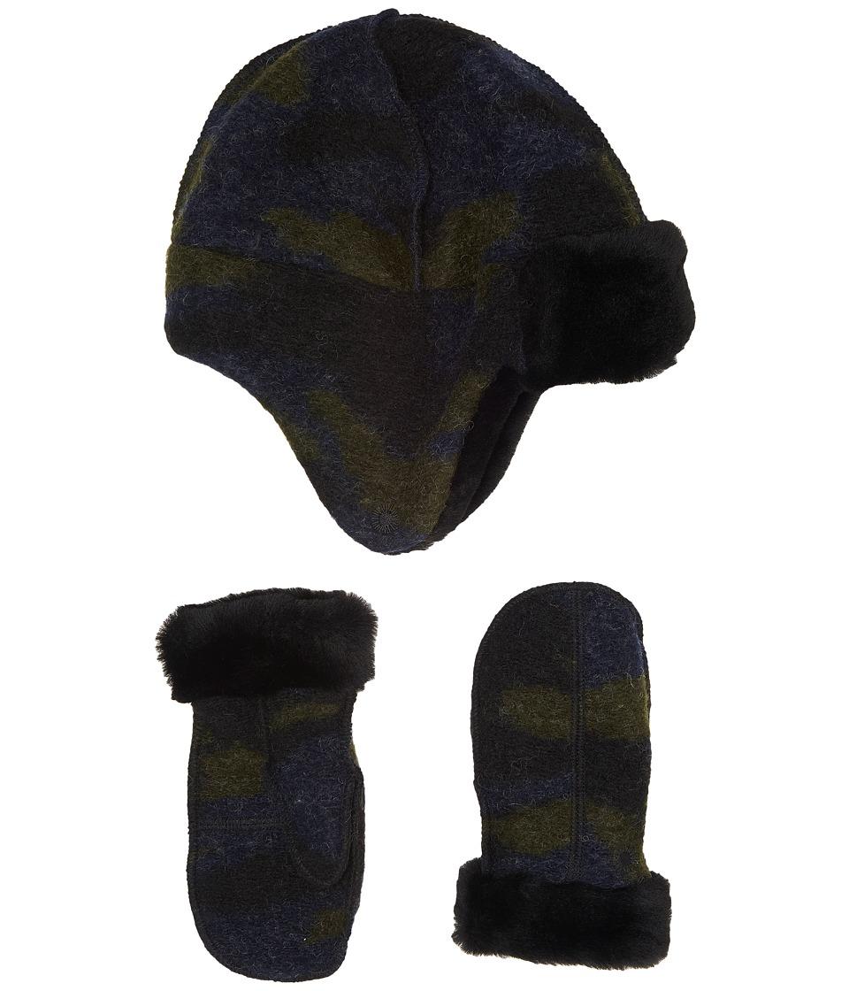 UGG Kids Wool Trapper/Mitten Set (Toddler/Little Kids) (Camo) Cold Weather Hats