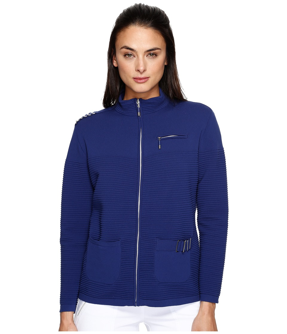 Jamie Sadock - Zip Front Sweater (Terra Blues) Women's Sweater