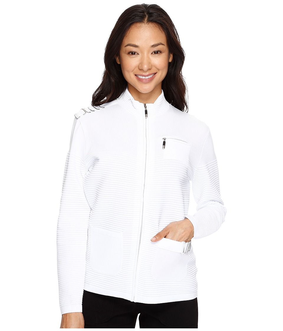 Jamie Sadock - Zip Front Sweater (Sugar White) Women's Sweater