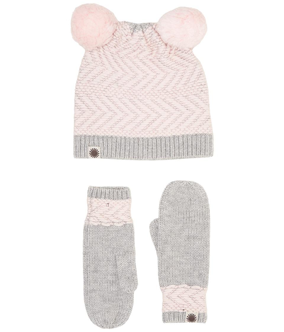 UGG Kids Chevron Pom Hat/Mitten Set (Toddler/Little Kids) (Sterling Heather Multi) Knit Hats
