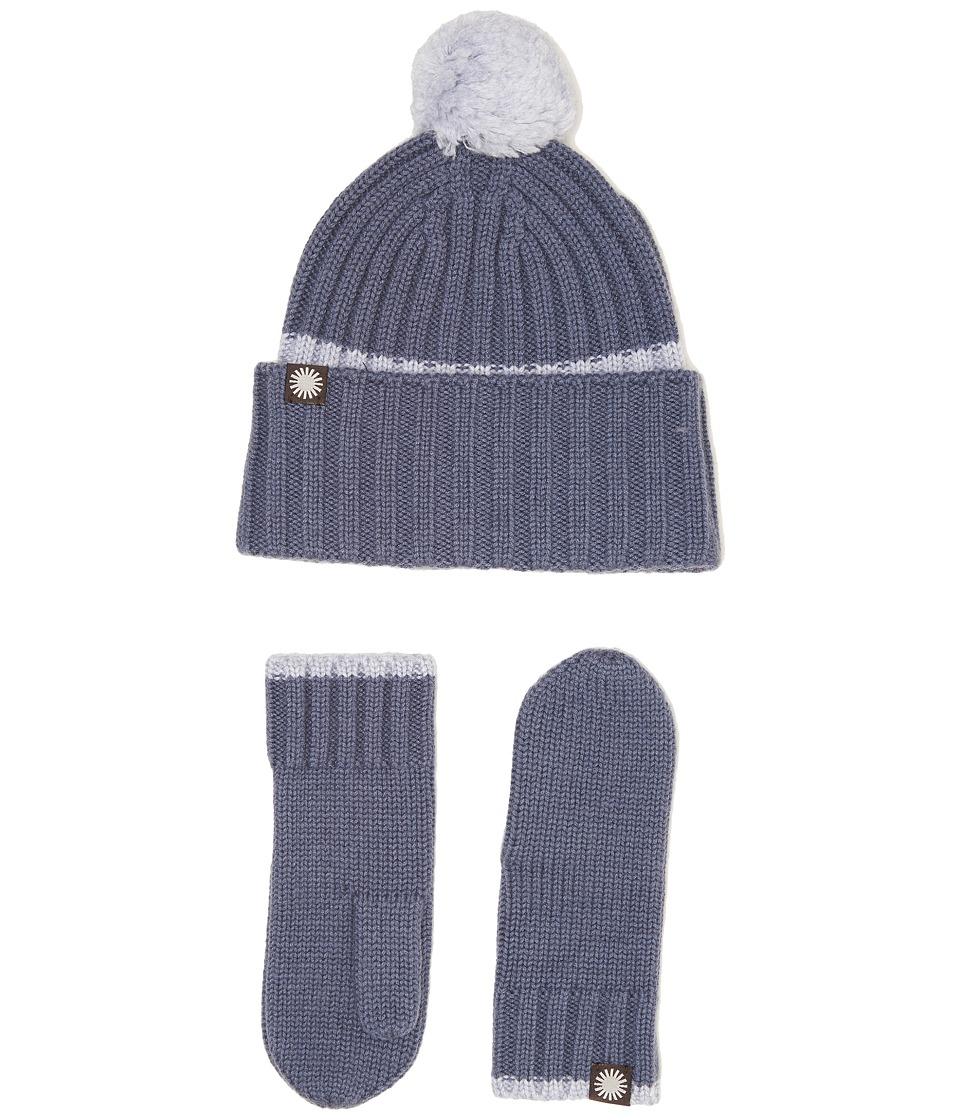 UGG Kids Ribbed Tip Cuff Hat/Mitten Set (Toddler/Little Kids) (Nocturn Multi) Cold Weather Hats