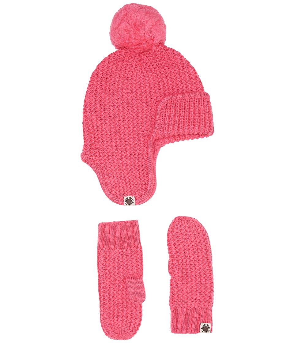 UGG Kids Trapper Hat/Mitten Gift Set (Toddler/Little Kids) (Pink Azalea) Cold Weather Hats