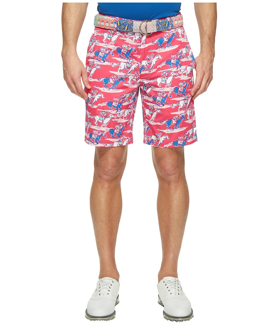 Vineyard Vines - Kentucky Derby 9 Horse Print Breaker Shorts (Rhododendron) Men's Shorts