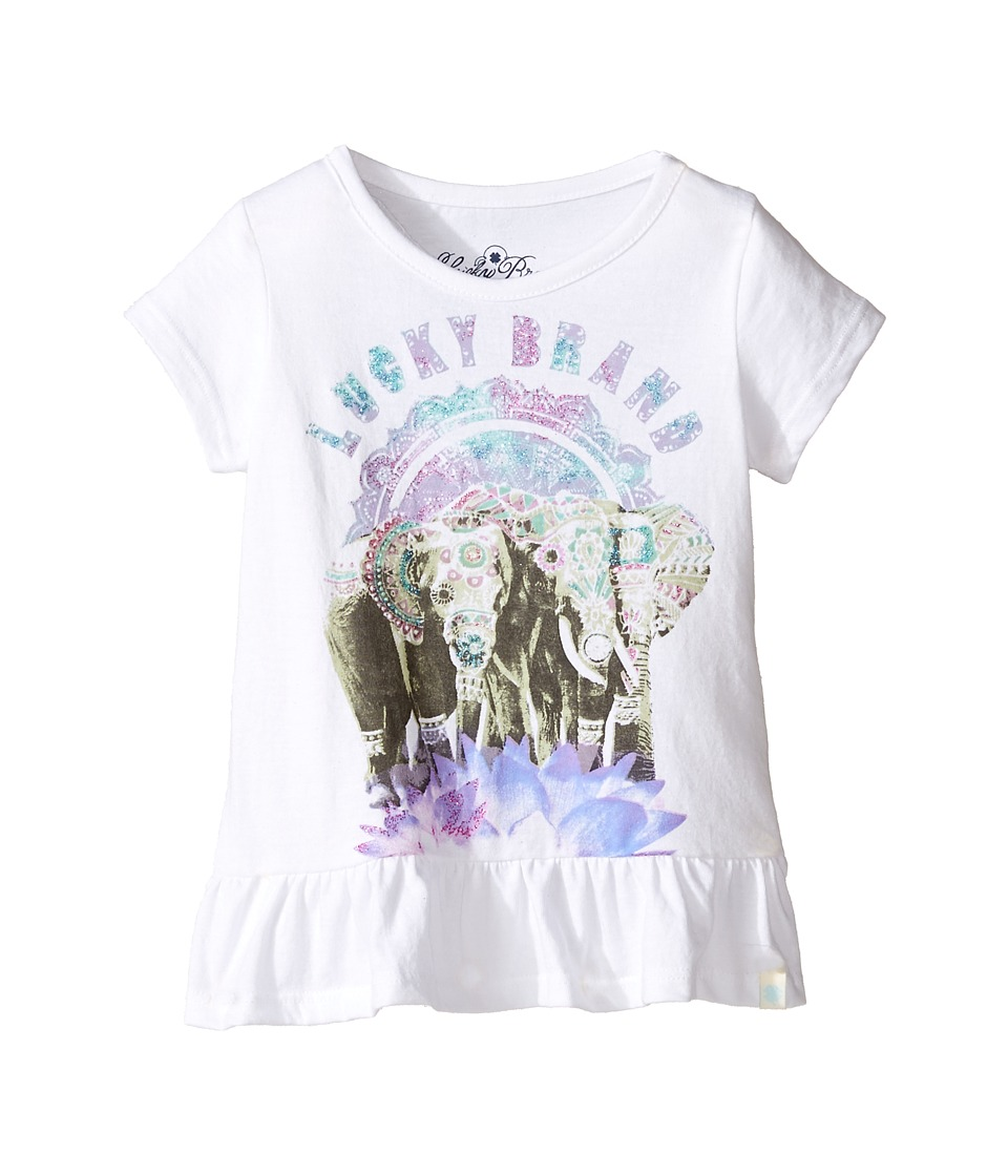 Lucky Brand Kids - Short Sleeve Elephant Tee with Ruffle Hem (Toddler) (Bright White) Girl's T Shirt