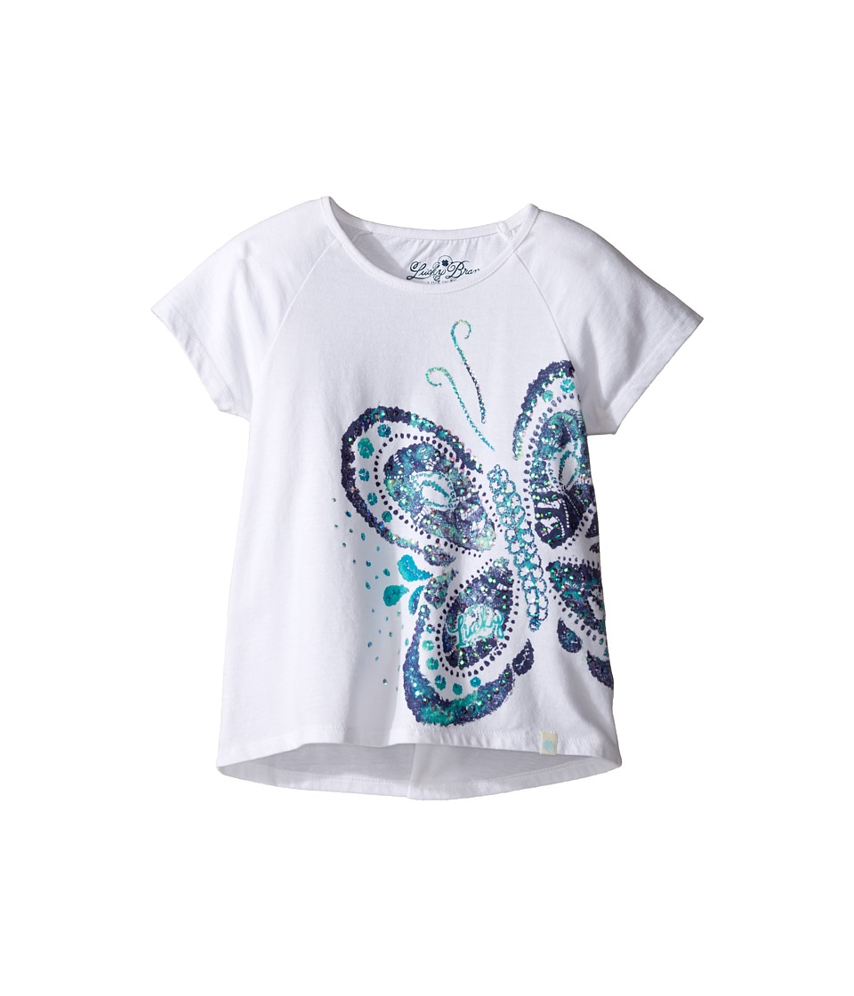 Lucky Brand Kids - Short Sleeve Butterfly Tee (Little Kids) (Bright White) Girl's T Shirt