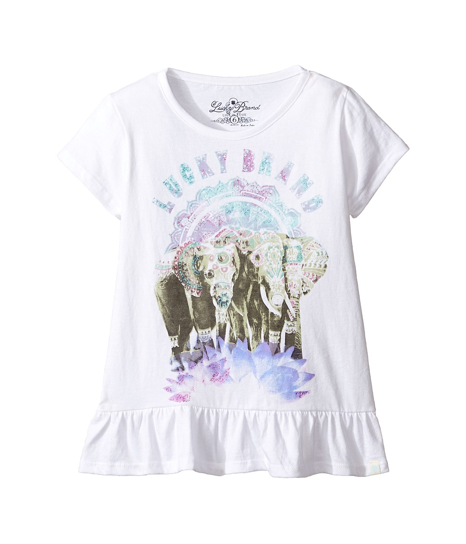 Lucky Brand Kids - Short Sleeve Elephant Tee with Ruffle Hem (Little Kids) (Bright White) Girl's T Shirt