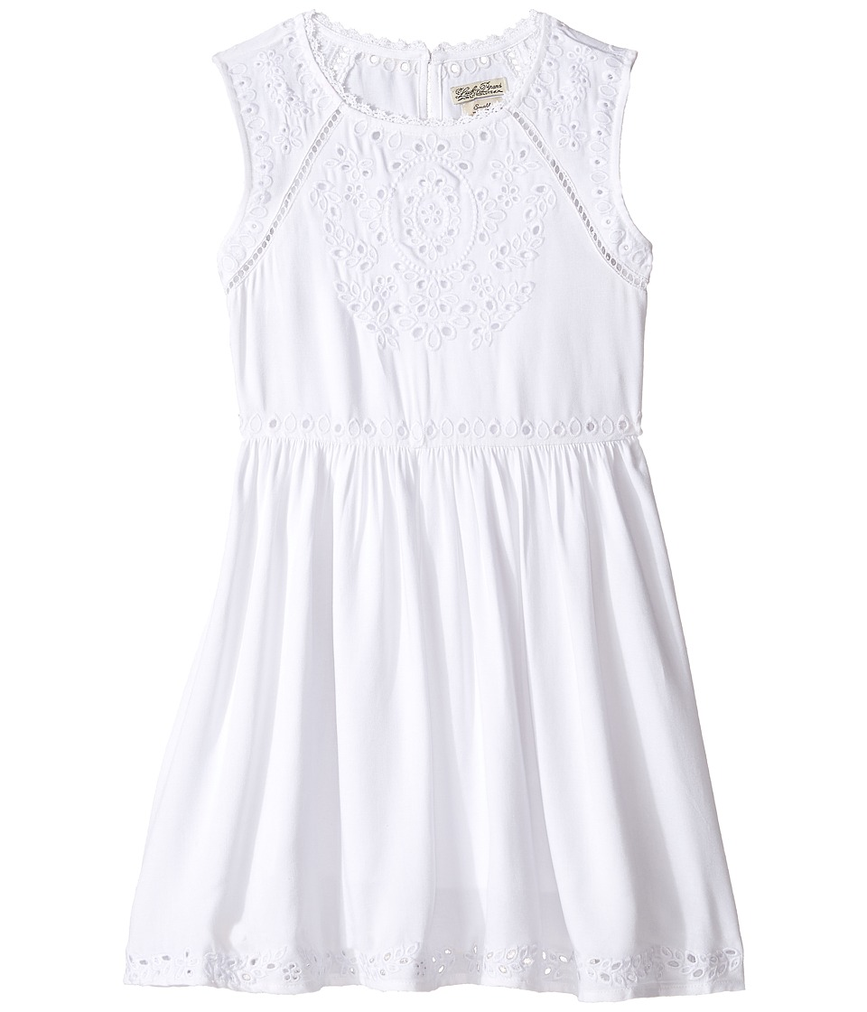 Lucky Brand Kids - Sleeveless Twill Eyelet Dress (Big Kids) (Bright White) Girl's Dress
