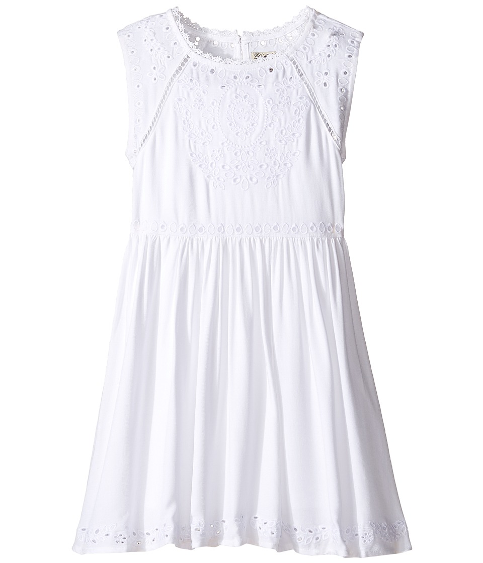 Lucky Brand Kids - Sleeveless Twill Eyelet Dress (Little Kids) (Bright White) Girl's Dress