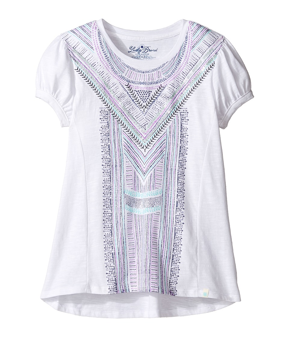 Lucky Brand Kids - Short Sleeve Embroidered Voyage Top (Big Kids) (Bright White) Girl's Clothing
