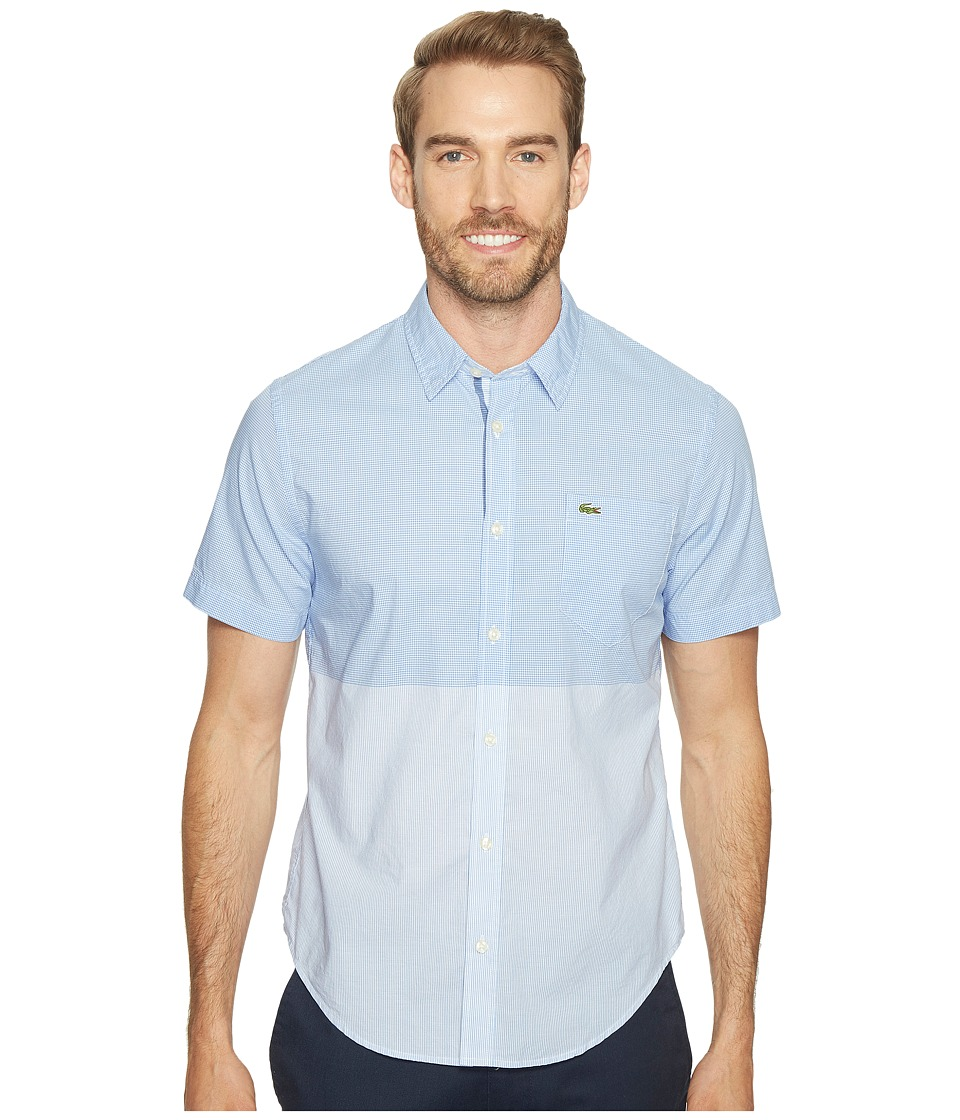 Lacoste - Short Sleeve Engineered Stripe Poplin Slim Fit (Flower Purple/White) Men's Clothing