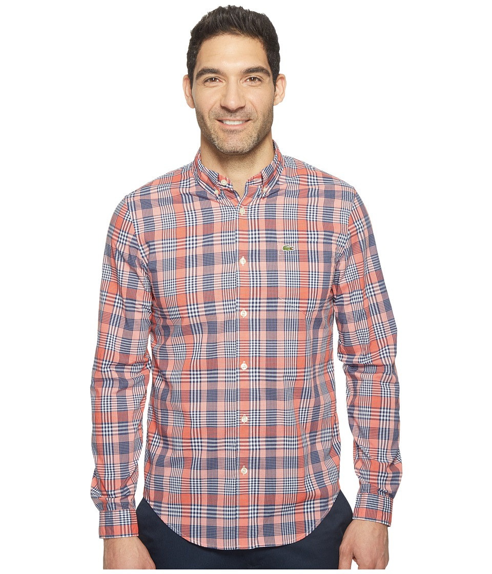 Lacoste - Long Sleeve Bold Poplin Plaid Slim Fit (Salsa Red/Blackthorn/White) Men's Clothing