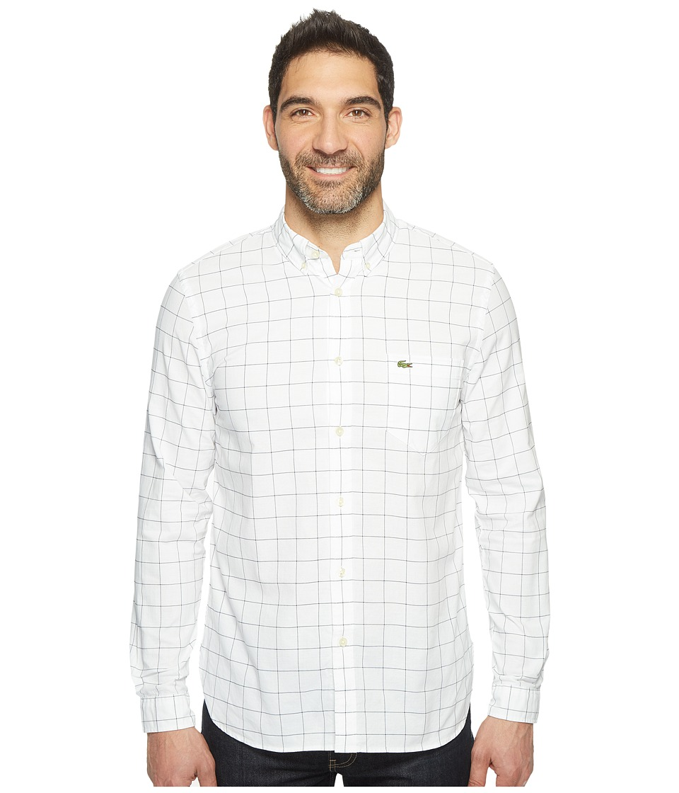 Lacoste - Long Sleeve Bold Windowpane Check Oxford Regular Fit (White/Navy Blue) Men's Clothing