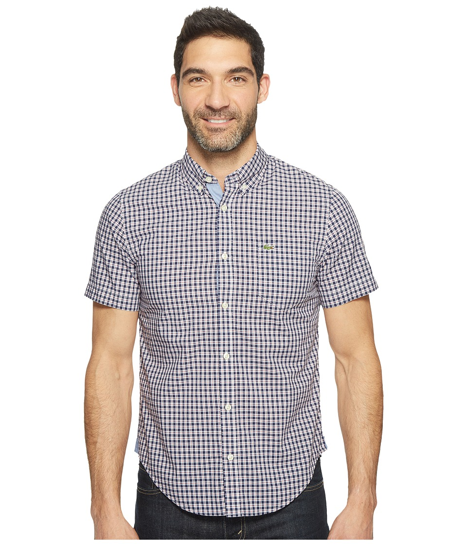 Lacoste - Short Sleeve Bold Poplin Check Slim Fit (Anchor/Ladybird/White) Men's Clothing