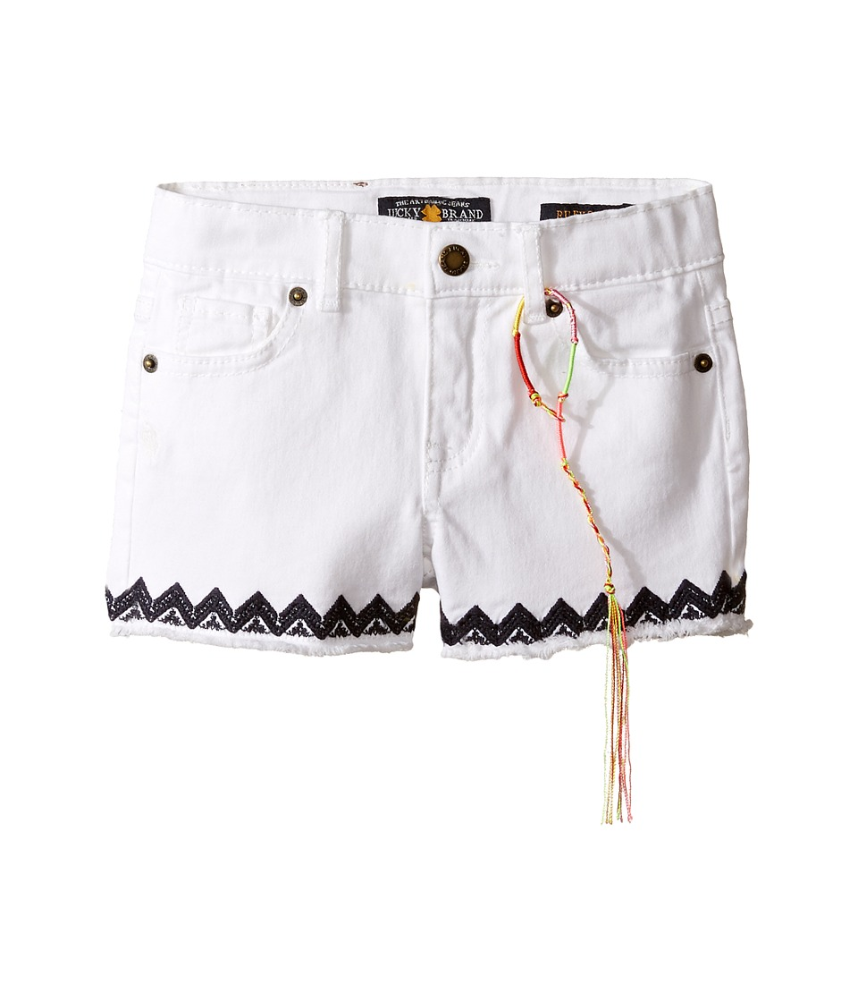 Lucky Brand Kids - Riley Stretch Denim Shorts with Embroidery (Toddler) (Bright White) Girl's Shorts