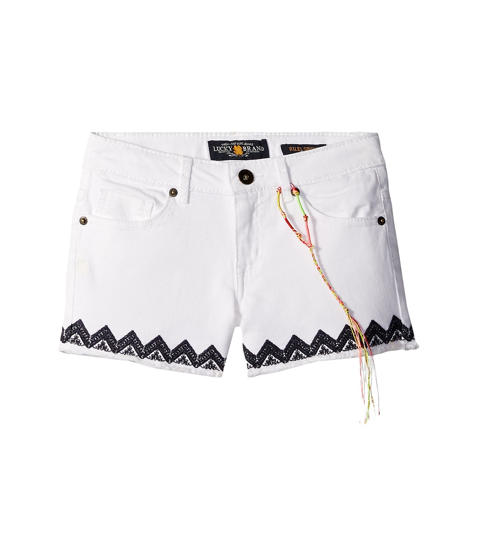 Lucky Brand Kids - Riley Stretch Denim Shorts with Embroidery (Little Kids) (Bright White) Girl's Shorts