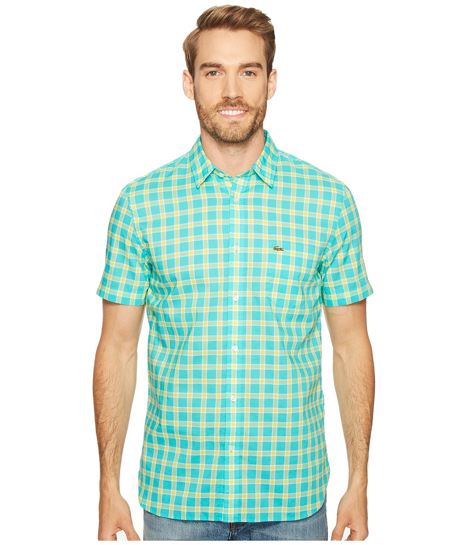 Lacoste - Short Sleeve Poplin Medium Check Regular Fit (Bermuda 08H/Midday Yellow/White) Men's Short Sleeve Button Up