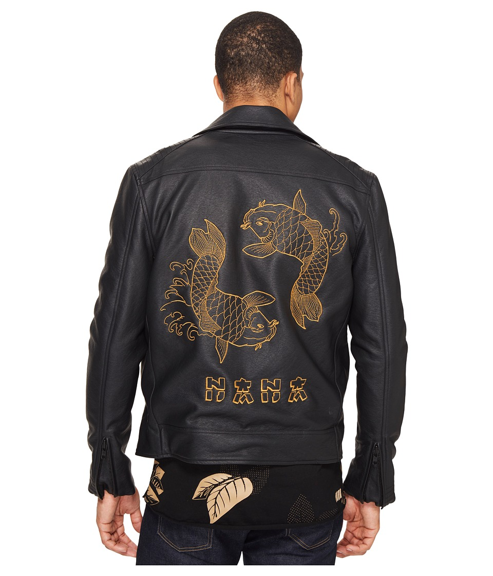 nANA jUDY - The Back In Black Faux Leather Biker Jacket with Koi Fish Embroidery (Black) Men's Jacket