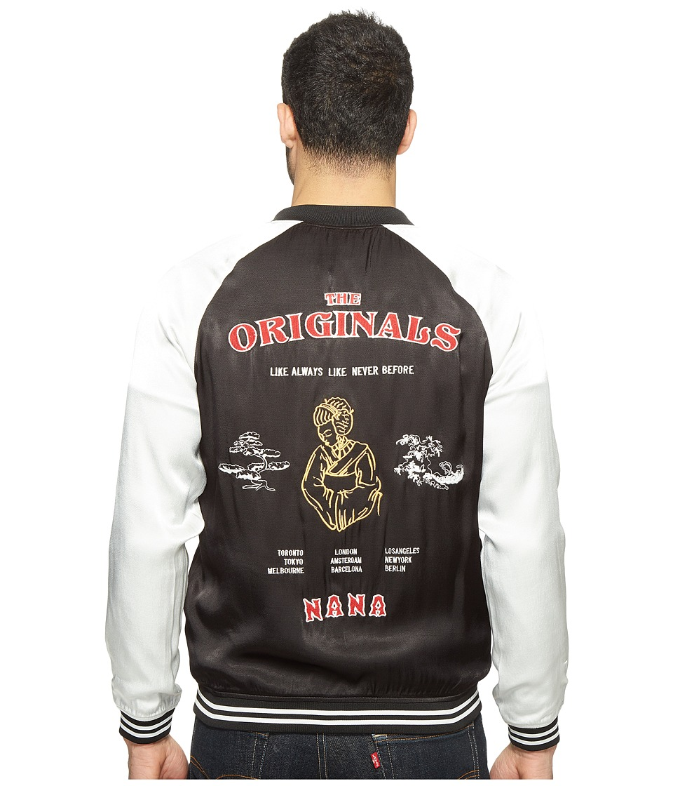 nANA jUDY - The Originals Satin Bomber Jacket with Embroidery (Black/White) Men's Coat