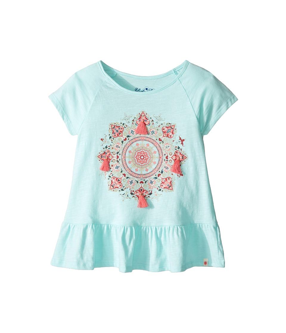 Lucky Brand Kids - Cap Sleeve Mandala Tee with Ruffle Hem (Little Kids) (Blue Tint) Girl's T Shirt