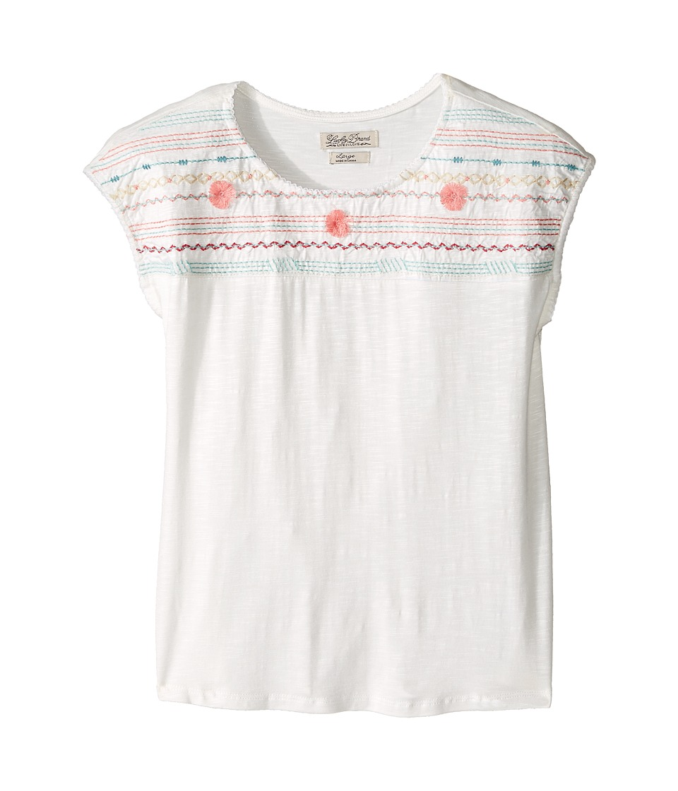 Lucky Brand Kids - Embroidered Drop Shoulder Top (Big Kids) (Vanilla) Girl's Clothing