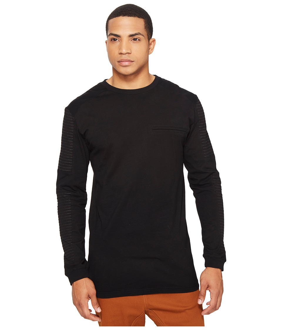 nANA jUDY - The Get Back Long Sleeve Tee with Moto Pin Stitching (Black) Men's T Shirt